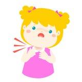 Sick girl sore throat cartoon . Stock Photo
