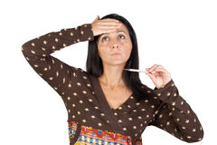 Sick girl with thermometer Royalty Free Stock Photos