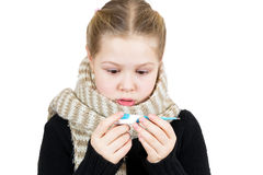 Sick girl with thermometer isolated Royalty Free Stock Images