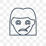 Sick girl vector icon on transparent background, linear stock illustration