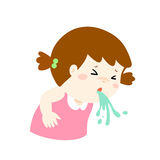Sick girl vomiting cartoon . Royalty Free Stock Photo