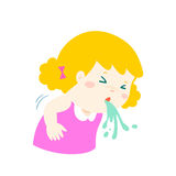 Sick girl vomiting cartoon . Royalty Free Stock Images