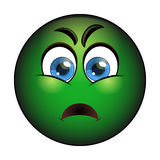 Sick green smiley. Emoticon with nausea Stock Image