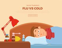 Sick guy in bed with the symptoms of cold, flu. Cartoon vector character on pillow with blanket and scarf, medicine, lemon, thermometer. Illustration of royalty free illustration