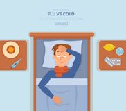 Sick guy in bed with the symptoms of cold, flu. Sick guy in bed with the symptoms of  cold, flu. Cartoon vector character on pillow with blanket and scarf Royalty Free Stock Images