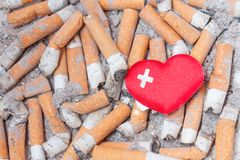 Sick heart on cigarette bulls Royalty Free Stock Images