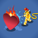Sick Heart Concept Isometric. Sick Heart and his Fireman. NEW lively palette 3D Flat Vector Icon. Rescue of a Burning Emotion Vector Concept Royalty Free Stock Images