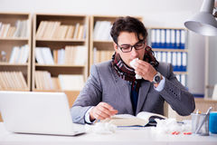The sick ill businessman in the office Royalty Free Stock Images