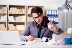 The sick ill businessman in the office Royalty Free Stock Image