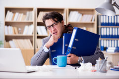 The sick ill businessman in the office Stock Photos