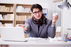 The sick ill businessman in the office Royalty Free Stock Photography
