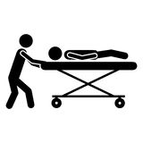 Sick or injured patient icon image Royalty Free Stock Photography