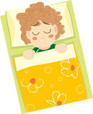Sick kid. Illustration of Sick kid in bed Royalty Free Stock Photo