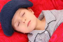 Sick kid. 5-6 years old preschooler in bed - sick Stock Photo
