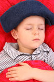 Sick kid. 5-6 years old preschooler in bed - sick Stock Images