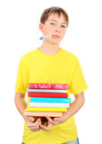 Sick Kid with a Books Royalty Free Stock Photography