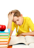 Sick Kid with a Books Stock Image
