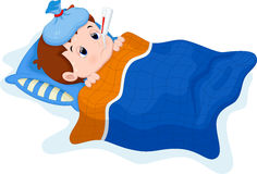 Sick kid cartoon Stock Images