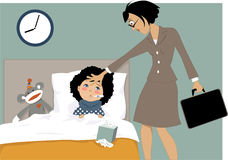 Sick kid and her mom Stock Image