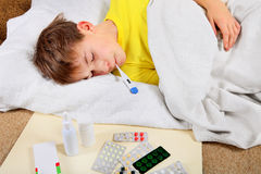 Sick Kid Stock Photo