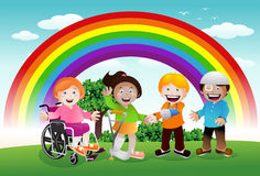 Sick kid under the rainbow Royalty Free Stock Photos