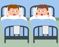 Sick Kids in Hospital Beds stock illustration