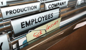 Sick Leave. Close up on a file tab with the word employees plus a note with the text sick leaves, blur effect at the background. Concept image for illustration Royalty Free Illustration