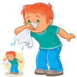Sick little boy blowing his nose in a handkerchief, respiratory allergy. Vector illustration of a sick little boy blowing his nose in a handkerchief, respiratory Royalty Free Stock Photos