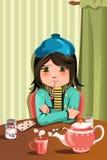 Sick little girl. A vector illustration of a sick little girl Stock Photo