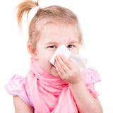 Sick little girl with chickenpox with napkin Royalty Free Stock Photos