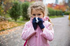 Sick little girl with cold and flu standing outdoors. Preschooler sneezing, wiping nose with handkerchief, coughing, having runny red nose. Autumn street stock photo