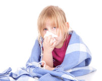 Sick little girl with flu. Sick little blond hair girl with flu, white background Stock Images