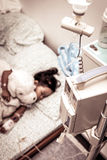 Sick little girl sleeping in the hospital Royalty Free Stock Image