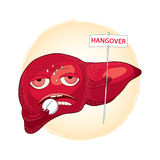 Sick liver taking pills and holding a sign with the word HANGOVER. Hangover or effects of alcohol in cartoon style Stock Images