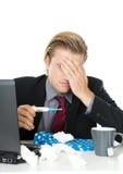 Sick man. Isolated on white Stock Photos