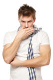 Sick man. Coughing sick man isolated on a white background Stock Image