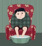 Sick man. The ill man sits in a red armchair. Cartoon illustrator Royalty Free Stock Image