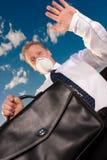 Sick man avoids camera Royalty Free Stock Photo