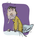 Sick Man. In bed with fever, vector illustration Royalty Free Stock Photography