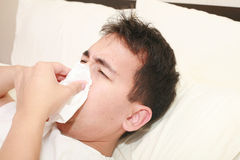 Sick man blowing his nose Stock Image