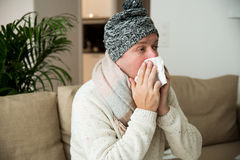 Sick man catch cold. stock photos