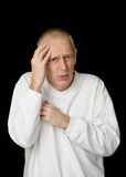 Sick Man with Cold holding handkerchief Stock Photo