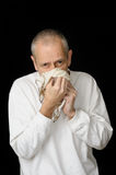 Sick Man with Cold holding handkerchief Royalty Free Stock Photo