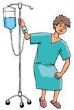 Sick man with drip. Very sick man takes for the drip in hospital Royalty Free Stock Photo