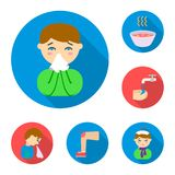 The sick man flat icons in set collection for design.Illness and treatment vector symbol stock web illustration. The sick man flat icons in set collection for Royalty Free Stock Image
