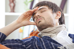 Sick man with headache Royalty Free Stock Photo