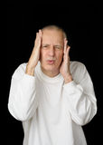Sick Man with headache Stock Photos