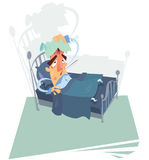 Patient on bed. A sick man with high temperature leaning on a bed Royalty Free Stock Images