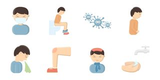 The sick man icons in set collection for design  Royalty Free Stock Images