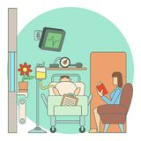 Sick man lies in hospital ward concept, flat style Royalty Free Stock Photo